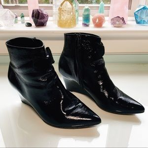 Peter Kaiser Patent Leather Pony Hair Bow Booties